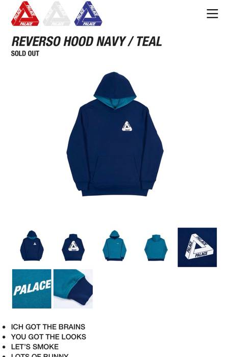 4004ccea9021 Palace Reverso Tri Ferg Hoodie Navy Teal Size l - Sweatshirts ...
