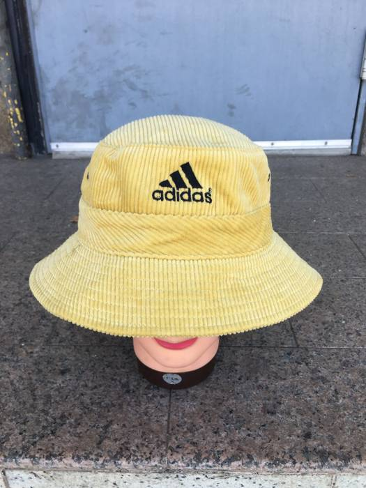 Adidas Vintage Adidas corduroy bucket hat Nice 👍🏼shade of light Yellow  with a solid 0d335eba082
