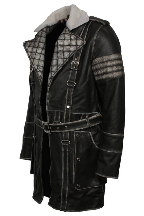 7c5c21a7a93 Leather Jacket Elder Maxson Fall Out 4 Maxon Brotherhood Of Steel Distressed  Brown Vintage Leather Trench
