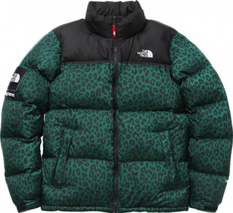 7392bed948f6 Supreme 11AW Green Leopard Nuptse Size l - Parkas for Sale - Grailed