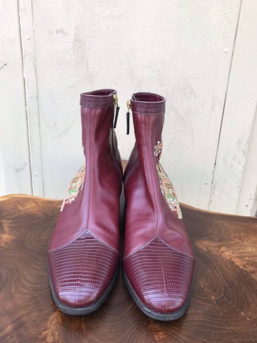 ddc7c10380dde Gucci Gucci Bordeaux Leather Boot With Dragon Embroidery Size 7 ...