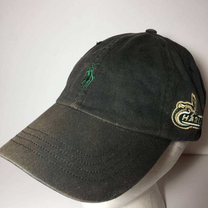 Polo Ralph Lauren POLO Ralph Lauren Pony Baseball Cap Leather Strap Hat UNC  Charlotte Distressed Size 75ab208e139