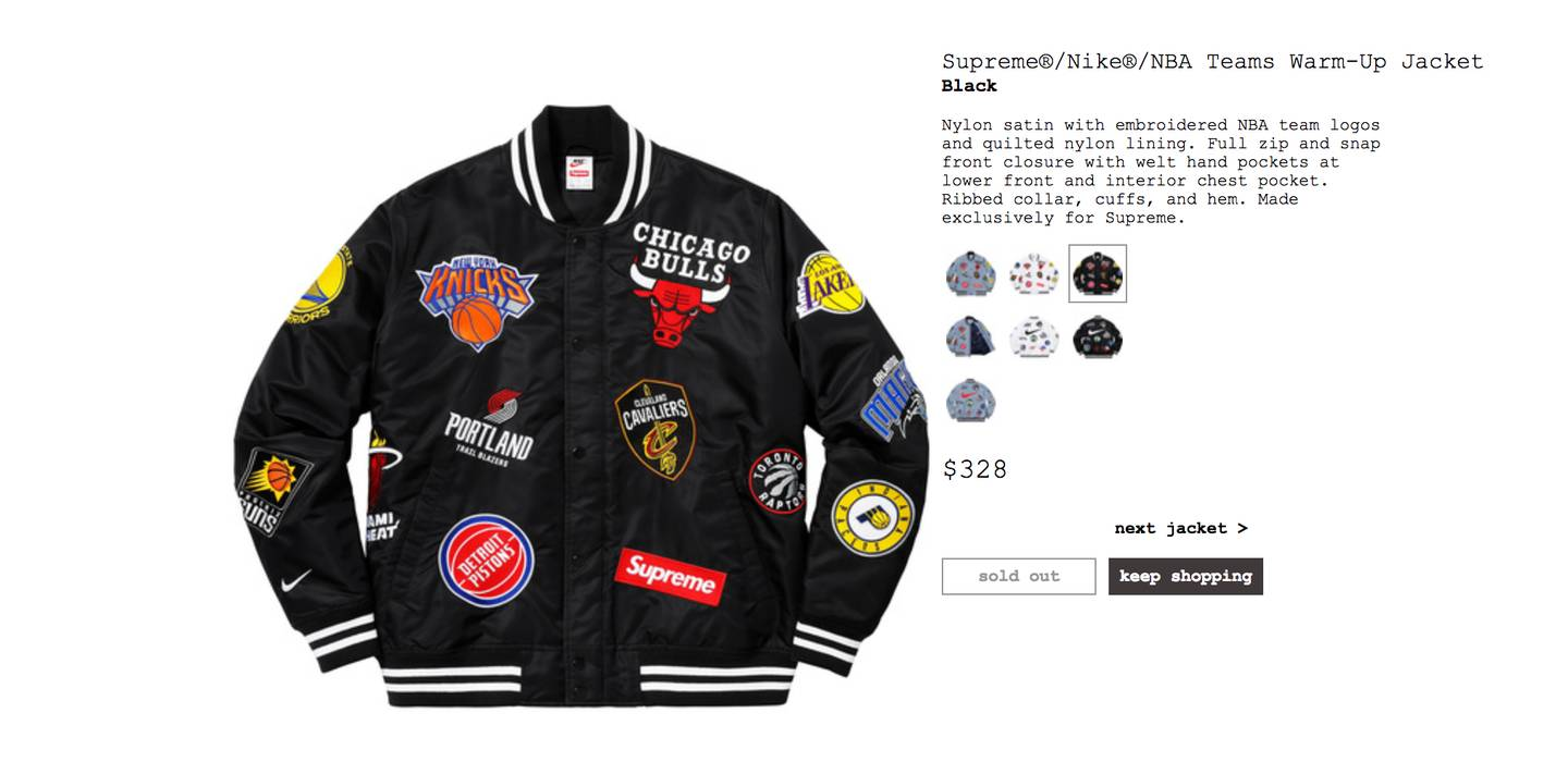 7162eccee Supreme Supreme x Nike x NBA Teams Warm-Up Jacket Size m - Light ...