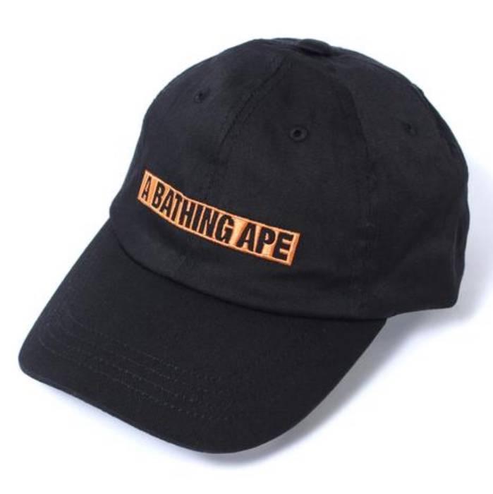 Bape A BATHING APE BAPE DAD HAT CAP BOX LOGO BLACK ORANGE Size one ... 53368970591