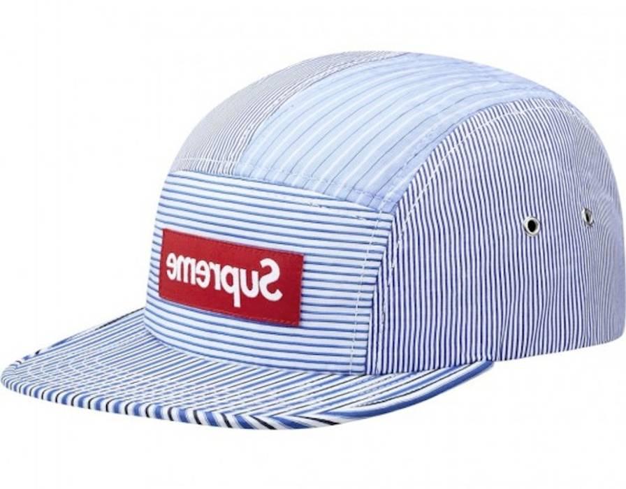 Supreme SUPREME COMME des GARCONS CDG SS12 Blue Striped Seersucker Camp Hat  5 Panel Cap Size e78d623a0e98