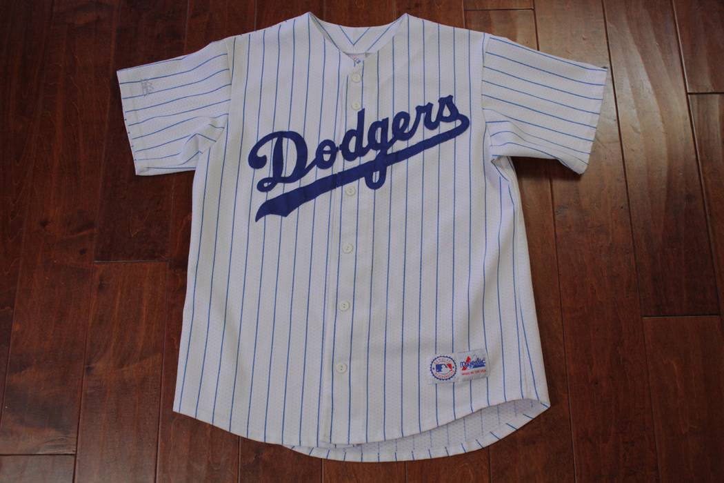 Majestic. Vintage Los Angeles LA Dodgers Majestic Pinstripe White Blue  Jersey ... 7ecd7c8bba1
