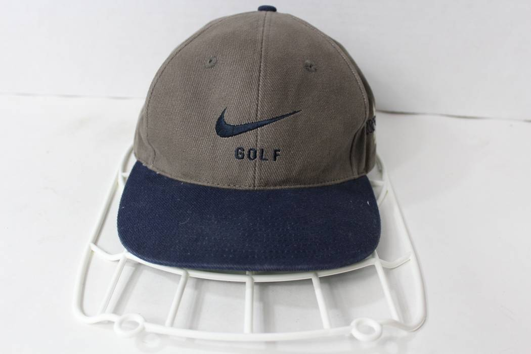 Nike Vintage 90s NIKE GOLF Spell Out Adjustable Strap Cotton Dad Hat Cap  Gray Blue Size 1f6eec8d95a