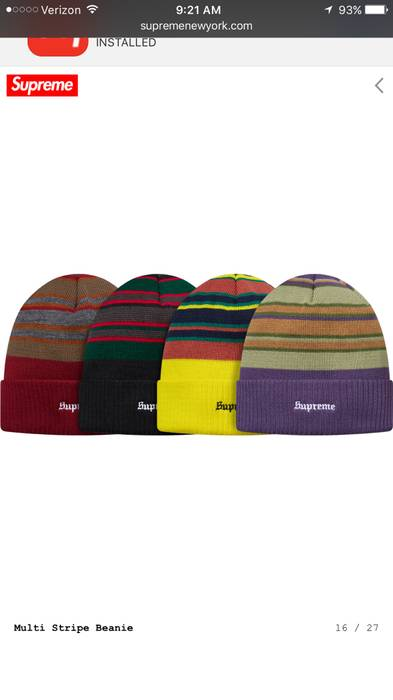7dd2f98fcf2d8 Supreme Multi Stripe Beanie Size one size - Hats for Sale - Grailed