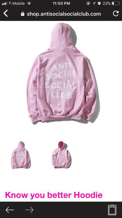 c394b58a30f2 Antisocial Social Club Know You Better Pink Hoodie ASSC Size s ...