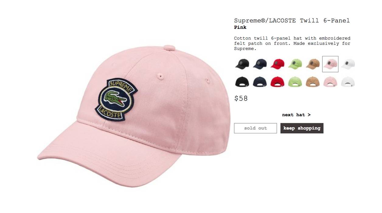 Supreme Pink Supreme x Lacoste Twill 6-Panel Size one size - Hats ... ee3dcc9f886a