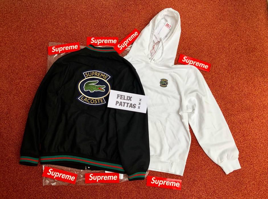 Supreme Supreme Lacoste Black Varsity Jacket And White Hoodie Xl