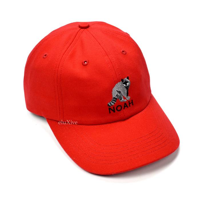 5a62f95a526 Noah Land Sea Air Raccoon Logo Hat Red DS Size one size - Hats for ...