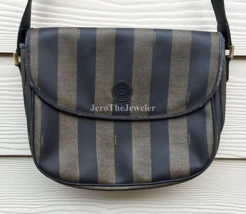 55c0ca22b2b Fendi Vintage Pequin-Striped Brown Black Small Crossbody Bag Size ...