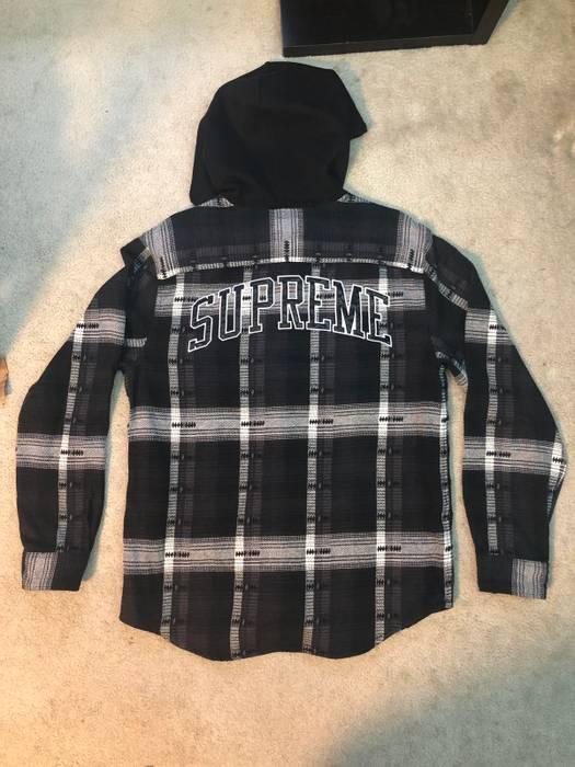 25b8eac50c9 Supreme. Supreme Hooded Jacquard Flannel Shirt (Black). Size  US M ...