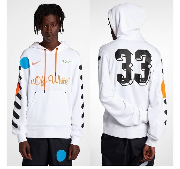 Nike NikeLab X Off White Football Mon amour White Hoodie Size US L   EU 52 53f596188