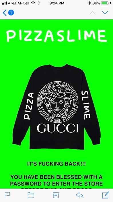 f6db6201348 Pizza Slime Versace Gucci Louis Vuitton Channel Long sleeve Size US XL   EU  56