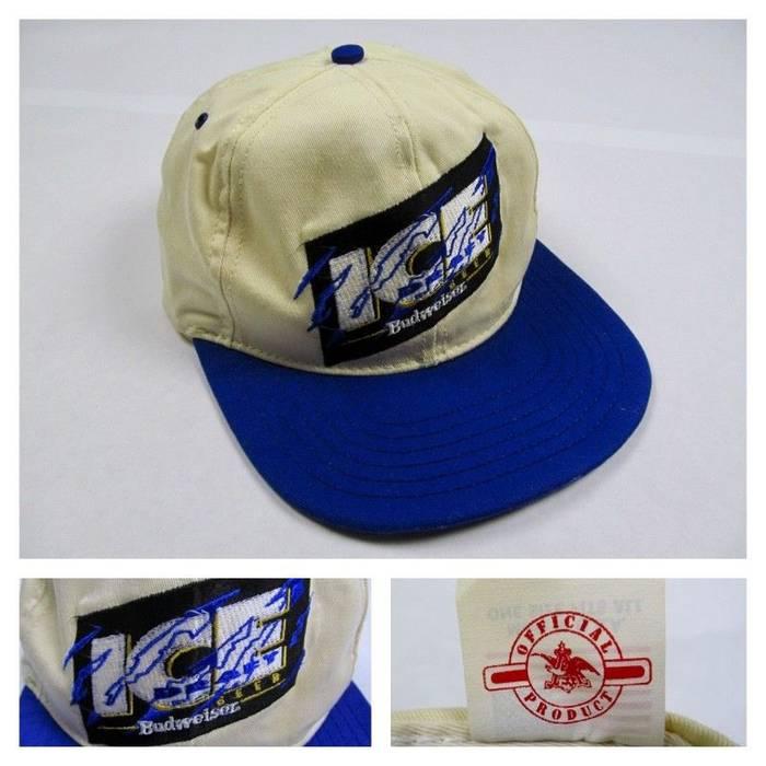 Vintage Budweiser Bud ICE Beer Snapback Baseball Hat Cap Alcohol King of Beers  Vintage Rare Hip 2ed9f9a028ae