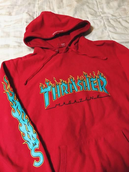 Supreme Supreme X Thrasher Flame Hoodie Red Size l - Sweatshirts ... cddb652163