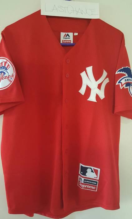 Supreme Supreme x New York Yankees x Majestic Baseball Jersey Size US L    EU 52 13e2bda25f9