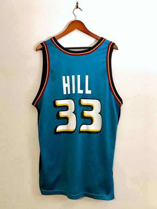 Champion Vintage 90s Grant Hill Detroit Pistons 33 Champion Jersey  Turquoise Red Yellow White NBA Basketball 07fed947b