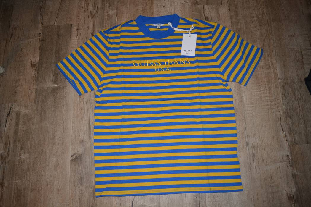 b04ad24662 Guess Jeans Asap Rocky David Reactive Striped Tee Blue Yellow