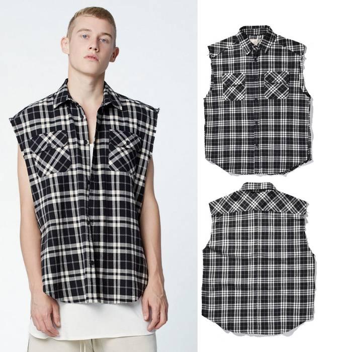 44d193a77919 Pacsun FOG Black White Cut Off Flannel Size m - Shirts (Button Ups ...