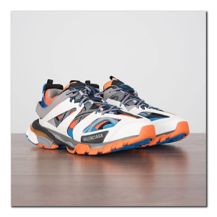 074cbb9fcbbd Balenciaga Track Trainers In Orange White Dark Grey   Blue Mesh   Nylon  Size US 7