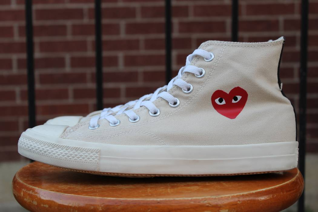 a78516d12319 Converse CDG High Tops Cream White Little Heart OG 1.0 Size US 9   EU 42