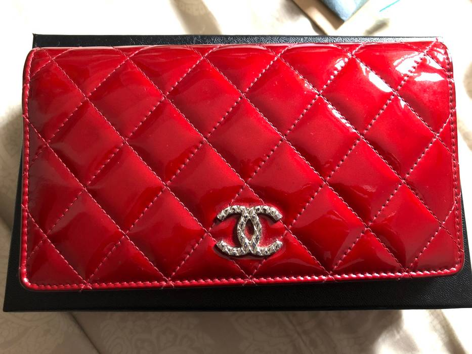 a2bc1fce699d Chanel Quilted Patent Leather Long Flap Wallet In Red Size One