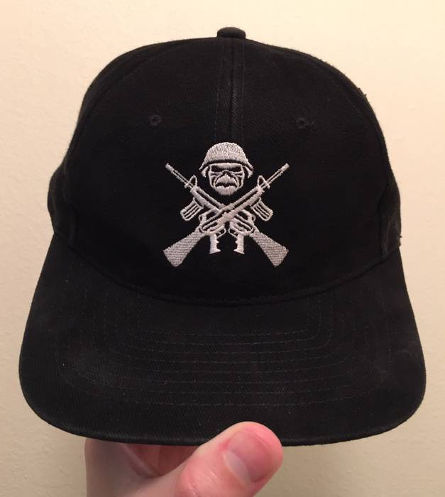 Vintage IRON MAIDEN Skull Solider   Guns Logo Snapback Hat Size one ... a398adaced7