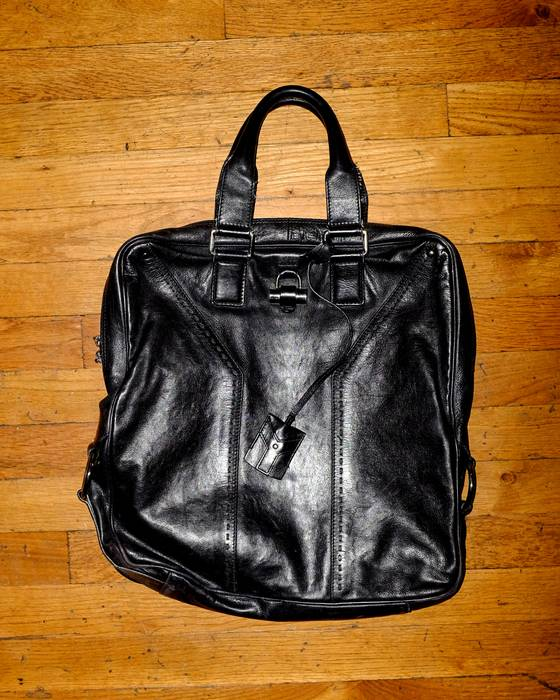 a93cc5895b64 Yves Saint Laurent Men s navy leather YSL tote briefcase Size one ...