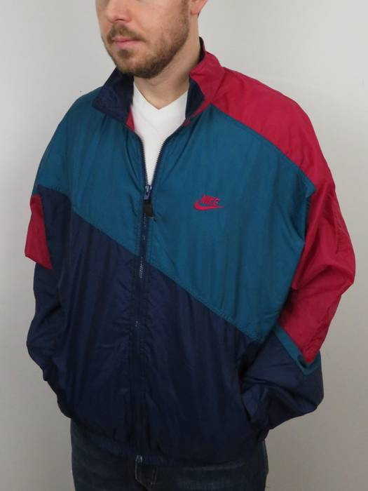 ca099ffe20 Nike Vintage Nike Color Block Jacket Mens Sz Large L Lightweight Windbreaker  Blue Teal Pink Red