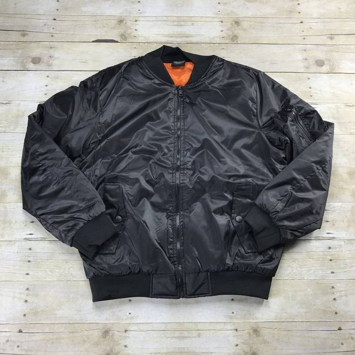 1aa626416b7 Unbranded. Brand New MA-1 Black Bomber Jacket with Orange Lining Mens ...