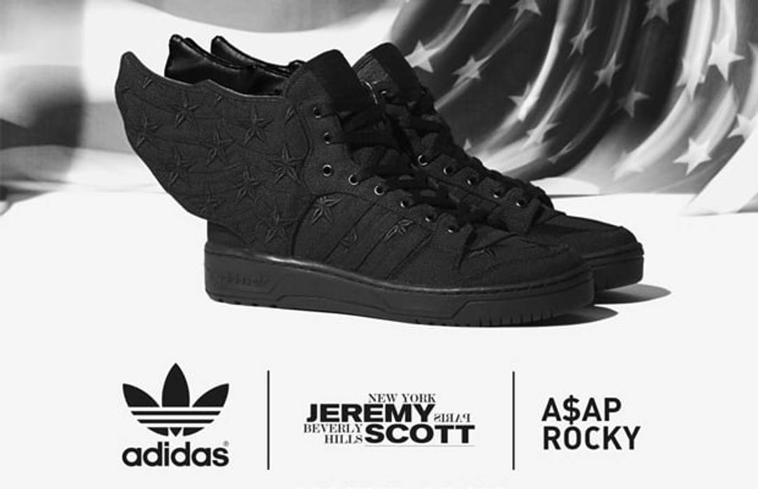 online retailer 32746 83e56 Adidas Jeremy Scott X A AP Rocky Adidas Wings 2.0 Black Flag Size US 8.5