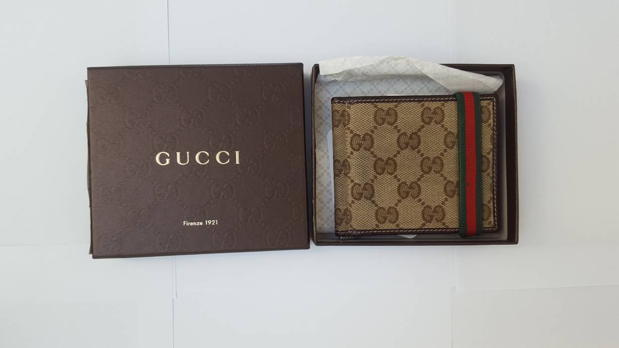 76d91bd164c86 Gucci Canvas Money Clip Wallet Size One Wallets For