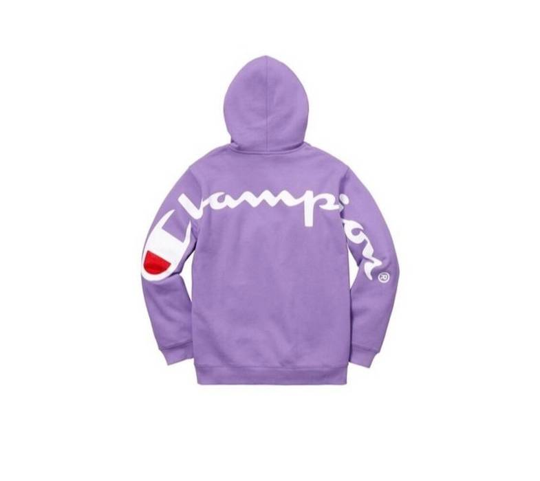 Supreme Supreme Champion Hooded Hoodie Sweatshirt Light Purple Spell Out  Size US L   EU 52 0408af6c2e97