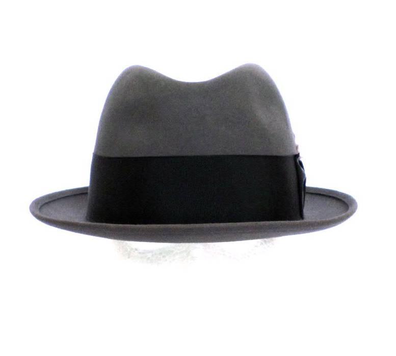 d87d3a4075e Stetson Royal Stetson Gray Felt Fedora Hat 7 1 8 Vintage Black Band Feather  Excellent