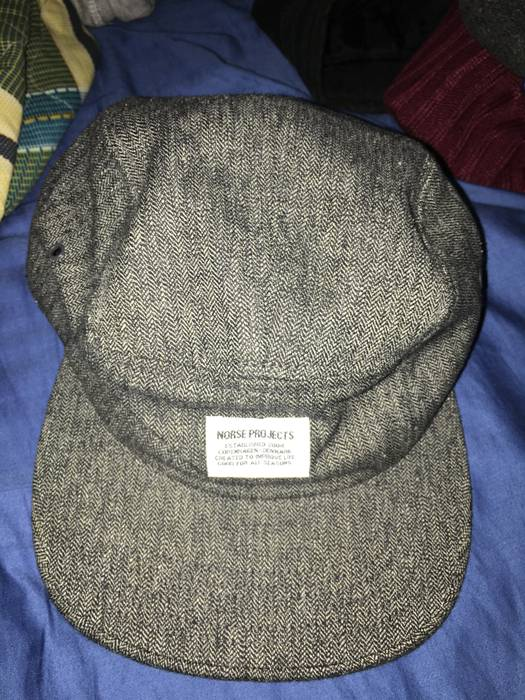 Norse Projects Grey Melange Herringbone 5 Panel Cap Size one size ... 308948c720d