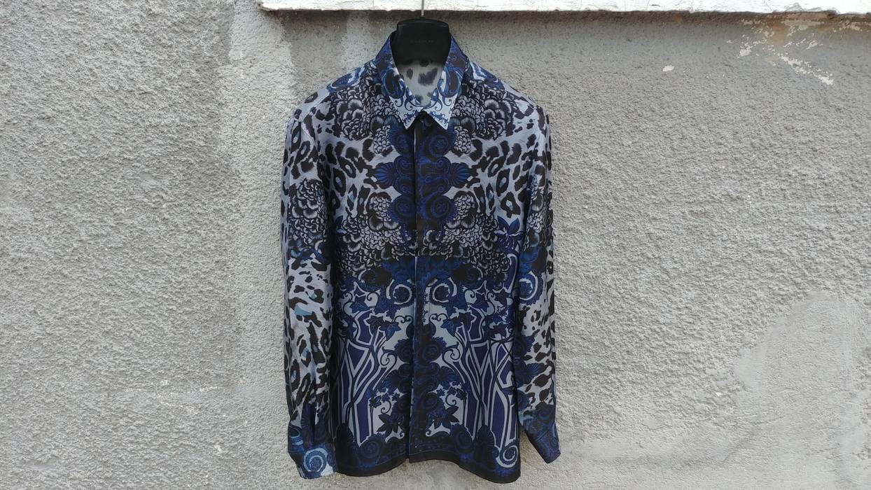 cd617ee9489f09 Versace  845 Versace Collection Blue Floral Fantasia Baroque Print Silk  Shirt size 40 (S