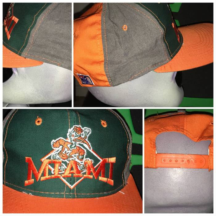 Vintage Vintage MIAMI Hurricanes Snapback Hat Ncaa College Football Rare  Vtg Sportswear Size ONE SIZE caa95a92f03