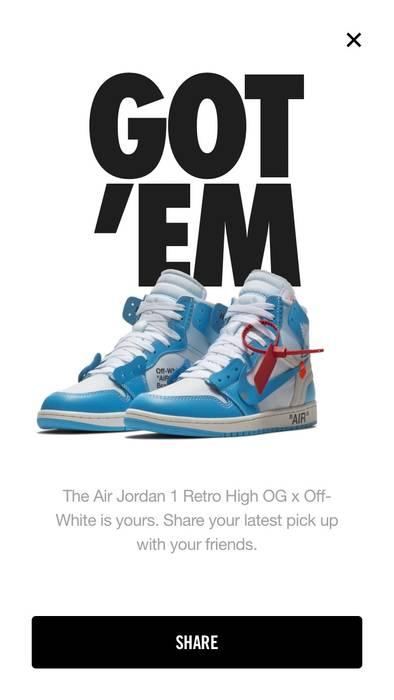 2835c49b0510 Nike Off White Air Jordan 1 UNC University Blue Size 10 - Hi-Top ...