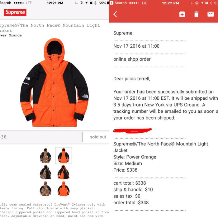 4593a9a23b Supreme X The North Face Mountain Light Jacket Power Orange