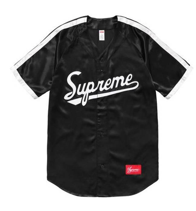 3249184a1 Supreme Satin Baseball Jersey Black Size m - Jerseys for Sale - Grailed