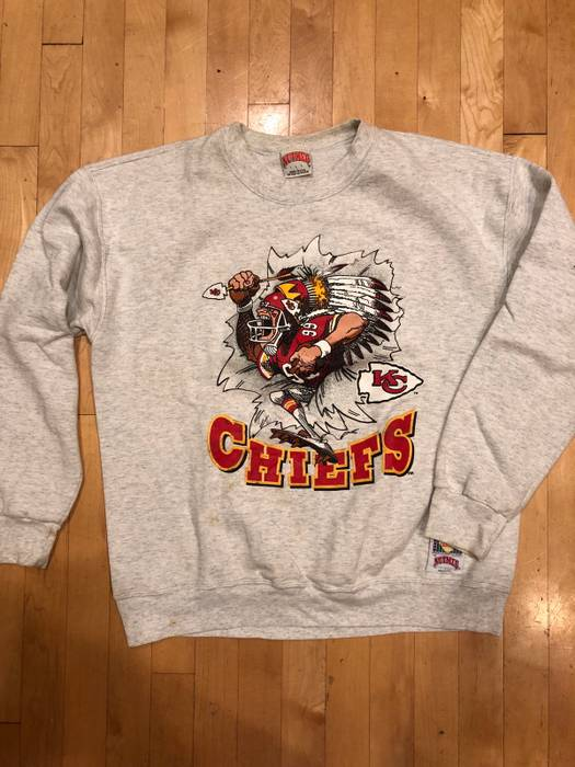 d931f7dd0 Vintage Vintage 90s Kansas City Chiefs NFL Retro Heather Grey Crewneck  Sweater Size US L