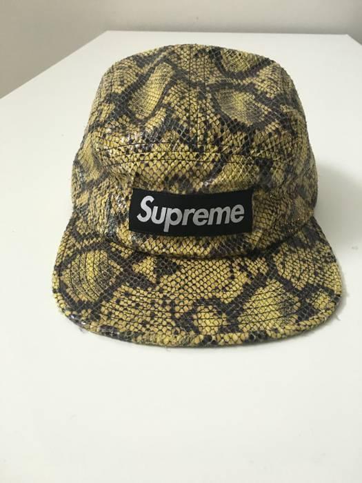 Supreme Supreme Snakeskin Camp Cap Box Logo Yellow Size one size ... 380ba262b48