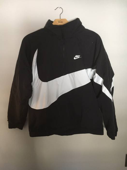 960a7a1cb6d3 Nike. Nike Big Logo Black Quarter Zip Windbreaker Jacket Boxy Fit Vintage  Vibe. Size  US L   EU 52-54 ...