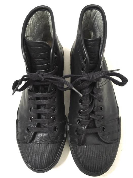 f9b3d30a338bb Dior Dior Homme Black Leather Bee High Top Laced Sneakers Size US 8.5   EU  41