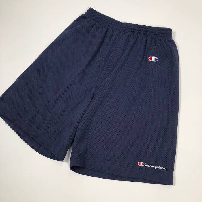4e870e420a378e Champion. Vintage Champion navy blue embroidered script logo mesh shorts ...