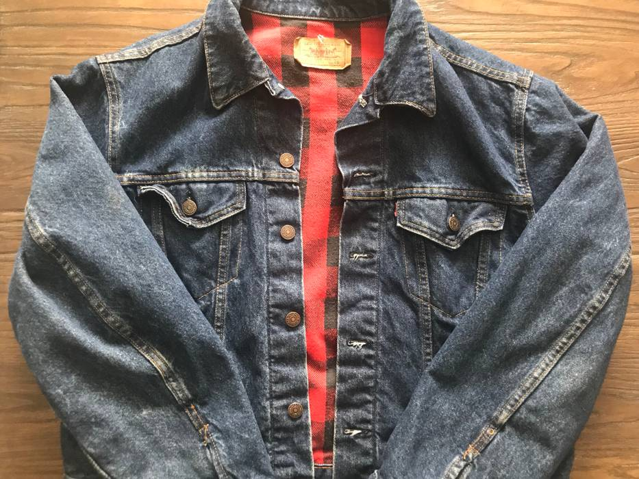 Levi S Vintage Clothing Vintage Denim Jacket Red Flannel Interior