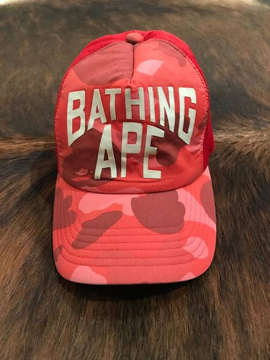 46f76b6a9cd Bape Bape 1st Camo Red Trucker Size one size - Hats for Sale - Grailed